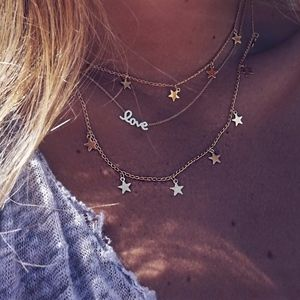 Jewelry - Stars & Script Love Layered Gold Choker Necklace